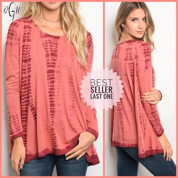 f3ceb63043b7ae Very J Tops   1left Beautiful Long Sleeve Rust Tie Dye Top   Poshmark